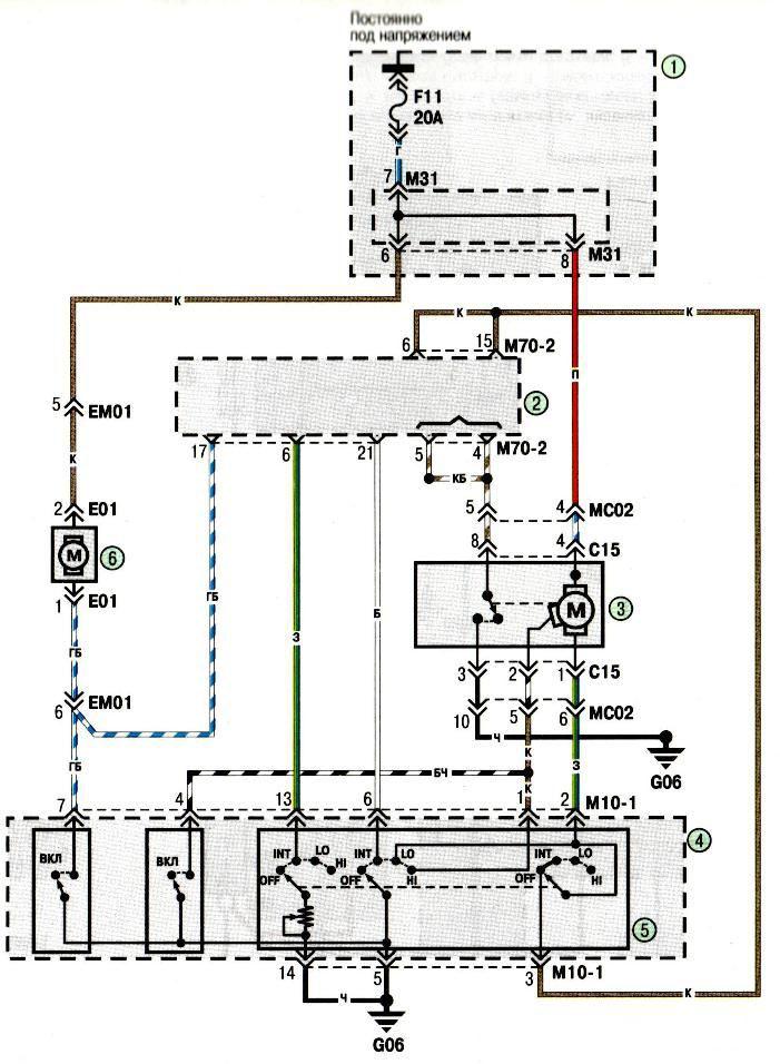 Электросхема Очистителя и омывателя лобового стекла Хундай Акцент Hyundai Accent (хендай) .
