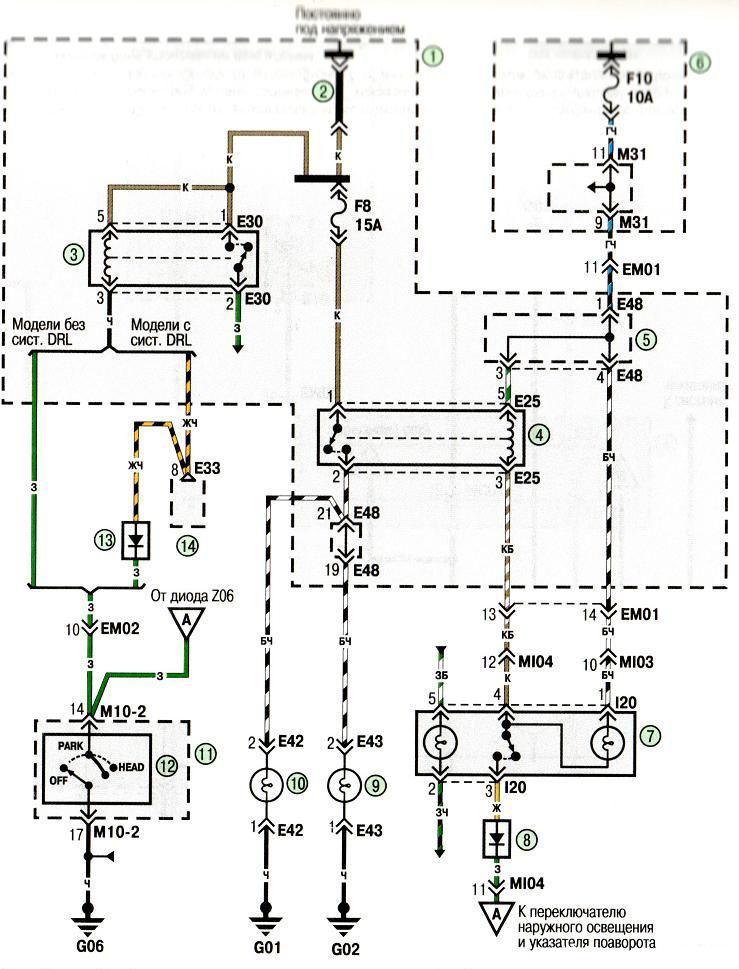 Схема возбуждение дизель генератора.  Схема подключения предохранителей на ваз 21 01.