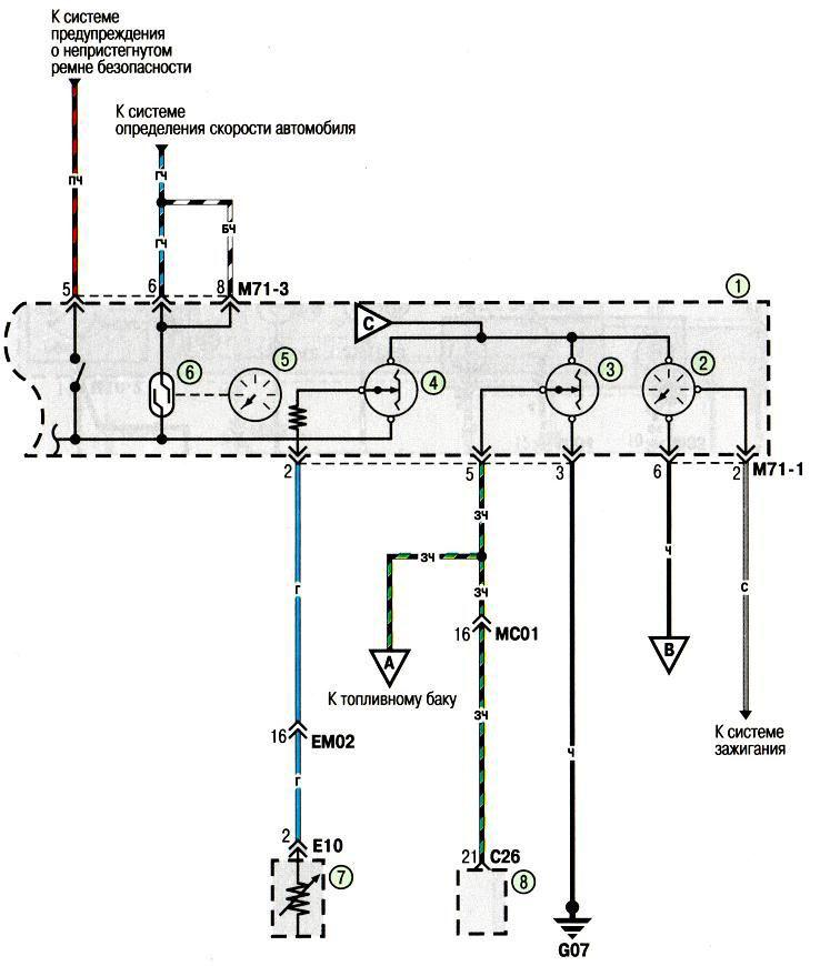 Электросхема комбинации приборов Хундай Акцент Hyundai Accent (хендай) .