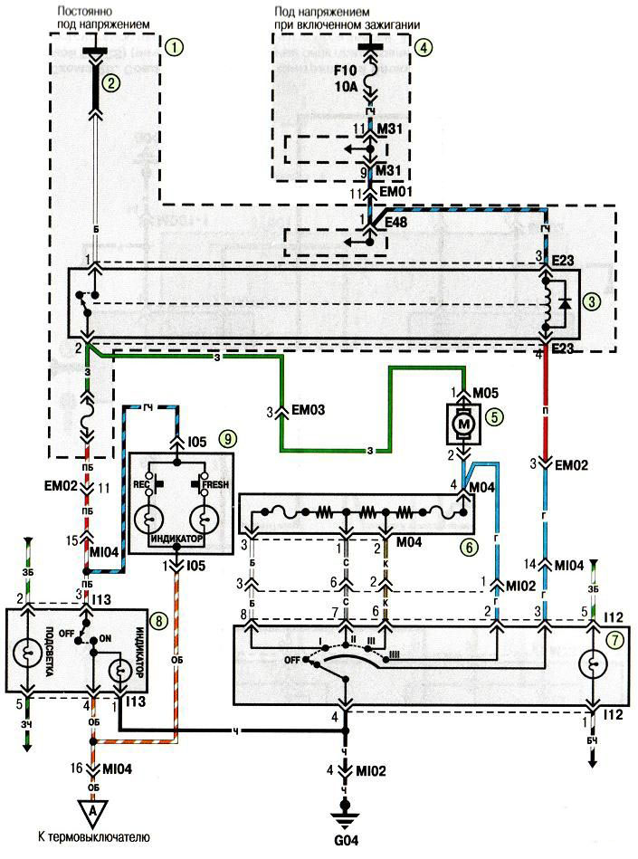 Электросхема вентилятора отопителя и кондиционера Хундай Акцент Hyundai Accent (хендай) .