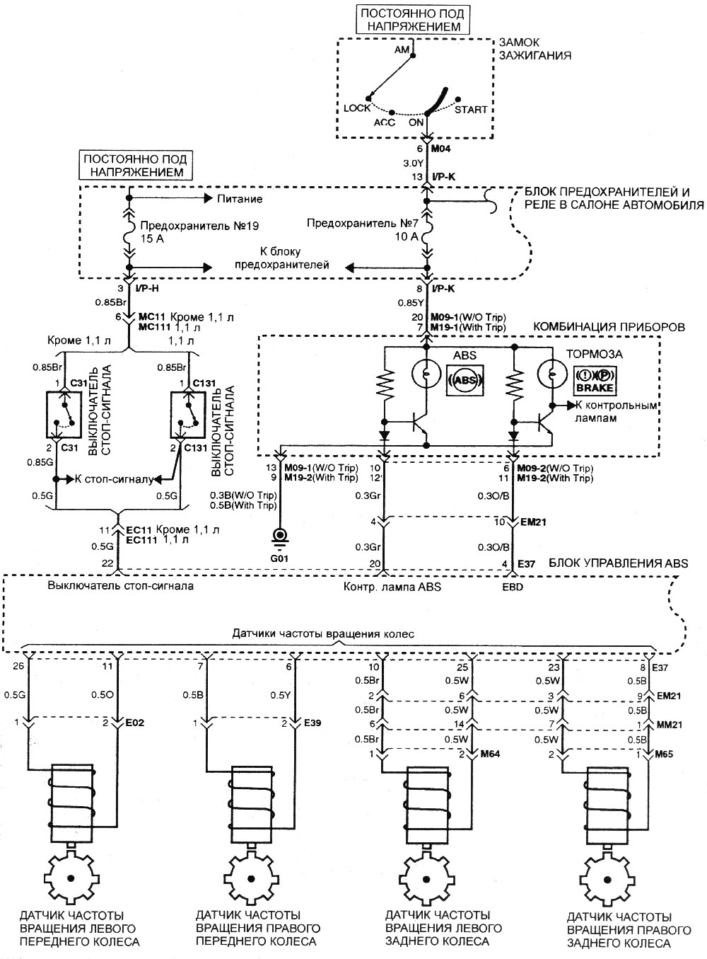 Электрическая схема антиблокировочной тормозной системы.