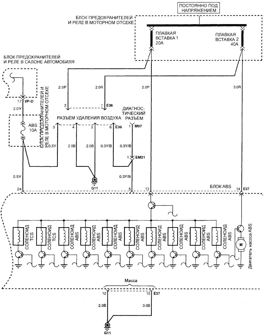 Электрическая схема антиблокировочной тормозной системы (продолжение) .