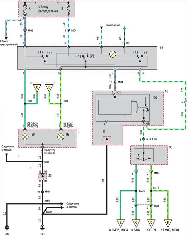 Условные обозначения на электрических схемах 1 распределительный блок в моторном отсеке 2 катушка зажигания 1 3...