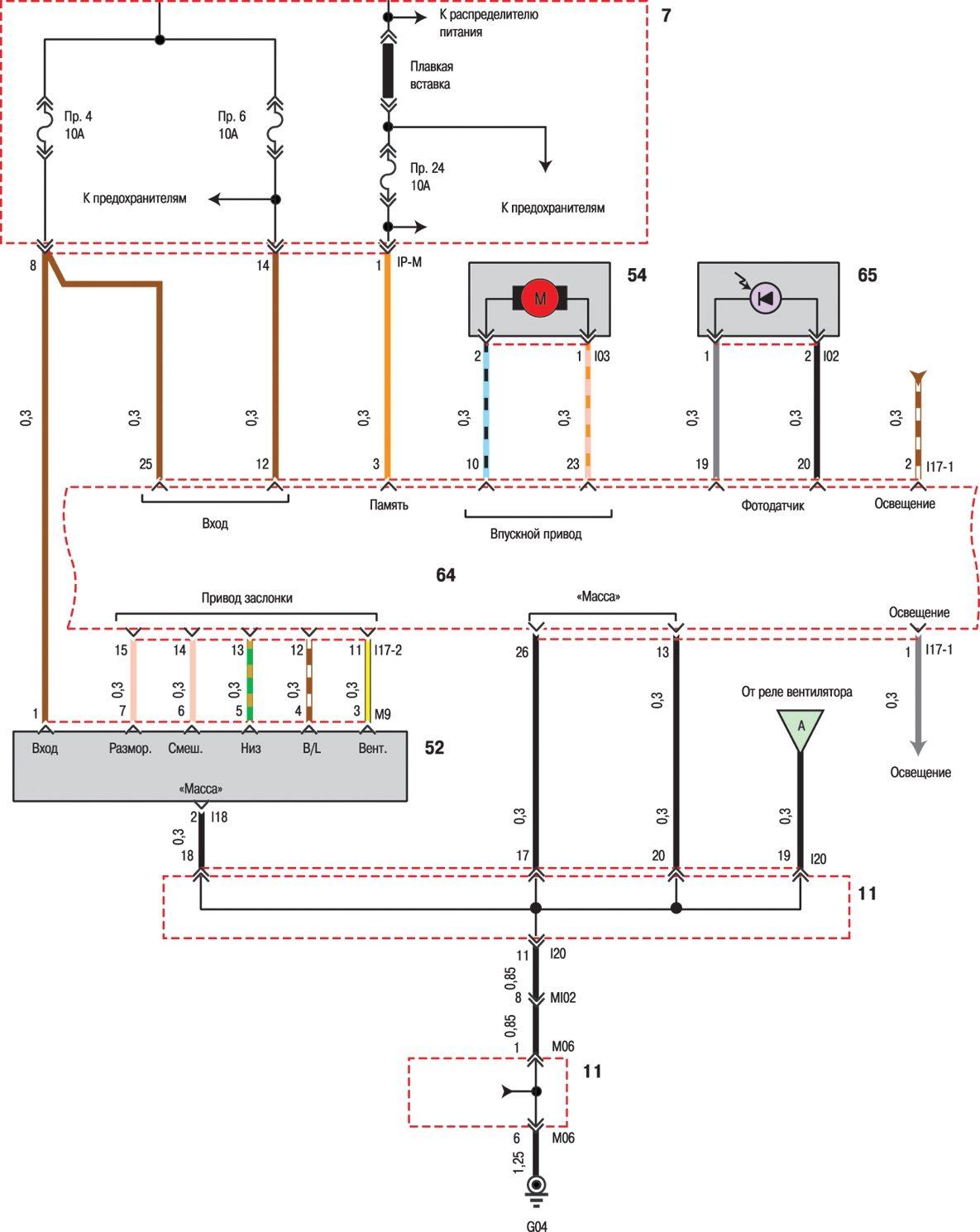 Sonata IV Принципиальная схема.  Автоматическое управление 1 вентилятором и кондиционером.
