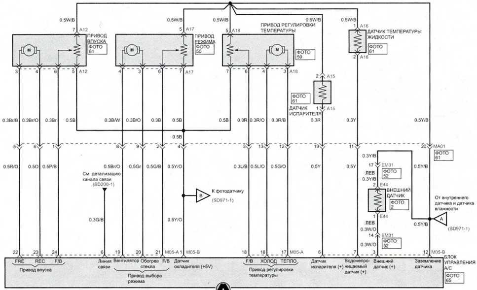 Система управления вентилятором и кондиционером (автоматическое) (2) - Электросхема Kia Picanto