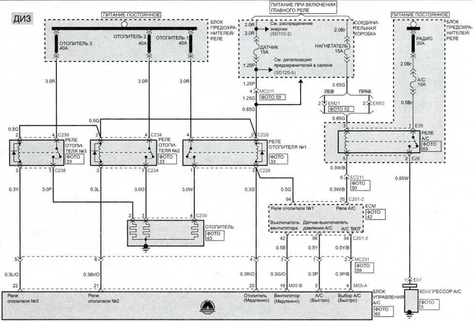 Система управления вентилятором и кондиционером (автоматическое) (4) - Электросхема Kia Picanto