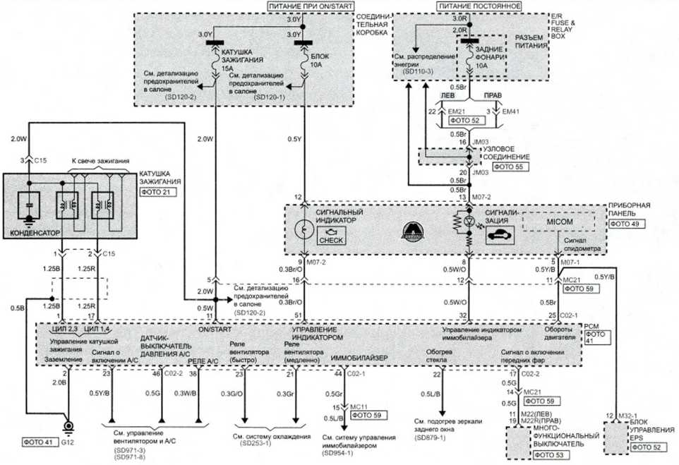 MFI система управления распределенным впрыском (бенз А/Т) (4) - Электросхема Kia Picanto