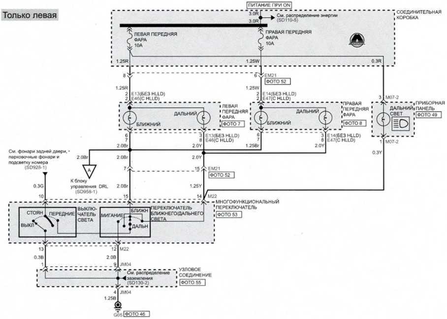 Фары для движения в дневное время (2) - Электросхема Kia Picanto