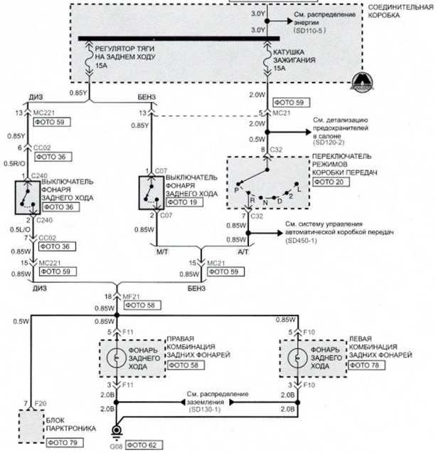 Фонари заднего хода (1) - Электросхема Kia Picanto